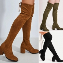 Fashion Thick High Heel Round Toe Over-the-knee Boots