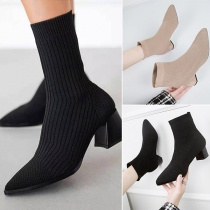 Fashion Square Heel Pointed Toe Knit Ankle Boots