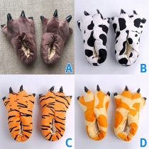 Cute Style Claw Shape Flannel Home-wear Shoes