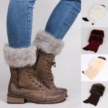 Fashion Faux Fur Spliced Solid Color Knit Leg Warmers