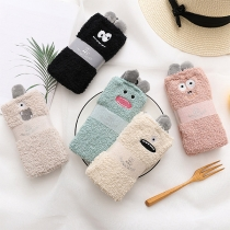 Cute Cartoon Little Monster Embroidery Plush Floor Socks  2 Pair/Set