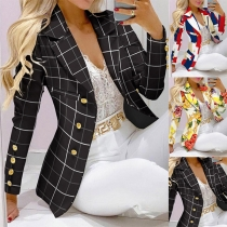 OL Style Long Sleeve Double-breasted Slim Fit Printed Blazer