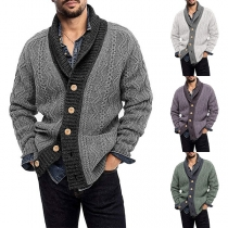 Fashion Contrast Color Long Sleeve Single-breasted Man's Knit Cardigan