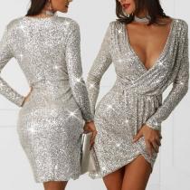 Sexy Deep V-neck Long Sleeve Irregular Hem Slim Fit Sequin Party Dress