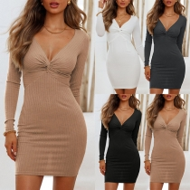 Sexy Twisted V-neck Long Sleeve Solid Color Tight Dress