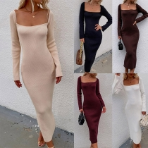 Sexy Backless Back Lace-up Square Collar Long Sleeve Solid Color Knit Dress
