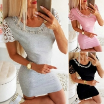Fashion Lace Spliced Short Sleeve Beaded Round Neck Slim Fit Dress