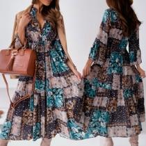 Bohemian Style 3/4 Trumpet Sleeve High Waist Stand Collar Printed Dress