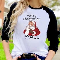 Cute Christmas Letters Printed Contrast Color Long Sleeve Round Neck T-shirt