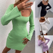 Sexy Lace-up Backless Square Collar Long Sleeve Solid Color Slim Fit Knit Dress