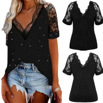Sexy Lace Spliced Short Sleeve V-neck Solid Color T-shirt
