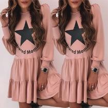 Fashion Long Sleeve Round Neck Pentagram Pattern Ruffle Hem Dress