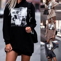 Casual Style Long Sleeve Hooded Printed Sweatshirt Dress