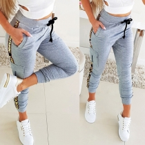 Casual Style Side Letters Pirnted Drawstring Waist Sports Pants