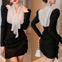 Fashion Contrast Color Long Sleeve Lace-up Bow-knot Collar Slim Fit Dress