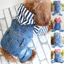 Fashion Stripe/Plaid Spliced Short Sleeve Hooded Denim Romer for Pets