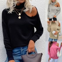 Sexy Off-shoulder Long Sleeve Turtleneck Solid Color Knit Top