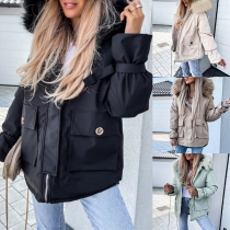 Fashion Faux Fur Spliced Hooded Long Sleeve Solid Color Padded Coat