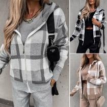Fashion Long Sleeve Hooded Plaid Knit Coat + Crop Top + Pants Three-piece Set