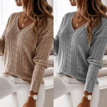 Fashion Solid Color Long Sleeve V-neck Hollow Out Knit Top