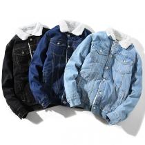 Fashion Long Sleeve POLO Collar Imitation Lamb Wool Lining Man's Denim Coat