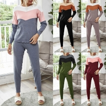 Fashion Contrast Color Long Sleeve Round Neck Knit Top + Pants Two-piece Set