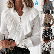Fashion Long Sleeve Stand Collar Ruffle Printed Blouse Shirt