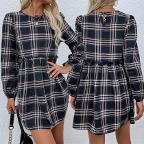 Casual Style Long Sleeve Round Neck High Waist Plaid Dress