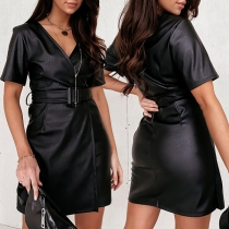 Sexy V-neck Short Sleeve Solid Color Slim Fit PU Leather Dress with Waistband