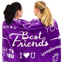 Letters Printed Best Friends Flannel Blanket Fleece Blanket
