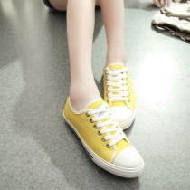 Candy Color Lace Up Casual Low Top Flat Canvas Sneaker