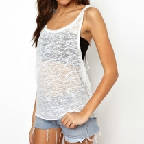 Sexy Slouchy Sheer Racer Back Tank Top T Shirt