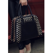 Gorgeous Solid Color Punk Metallic Rivets Tote Handbag