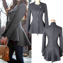 OL Style High-low Hemline Worsted Coat
