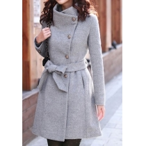 Elegant Slim Lapel Bowknot Sash Pure Color Worsted Coat