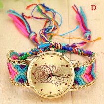 Ethnic Style Colorful Braided Watchband Round Dial Quartz Watch