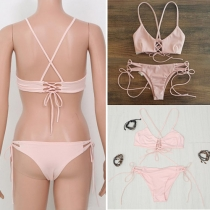 Sexy Solid Color Lace-up Pink Bikini Set