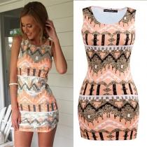 Fashion Sleeveless Round Neck Geometric Print Dress