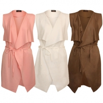 Fashion Solid Color Sleeveless Lapel Trench Coat