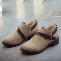 Retro Round Toe Flat Heel Ankle Boots