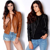 Fashion Solid Color Long Sleeve Slim Fit PU Leather Jacket