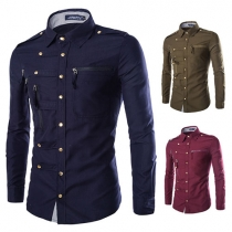 Fashion Solid Color Long Sleeve Single-breasted POLO Collar Men's Shirt