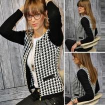 Fashion Long Sleeve Slim Fit Houndstooth Jacket
