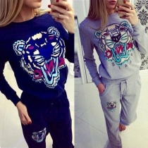 Fashion Tiger Pattern Long Sleeve Round Neck Casual Sports Suit