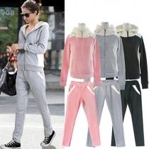 Fashion Long Sleeve Hoodies + High Waist Pants Sport Suit