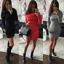 Fashion Solid Color Long Sleeve Cowl Neck Thin Dress