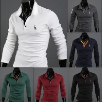 Fashion Long Sleeve POLO Collar Fawn Embroidery Men's T-shirt
