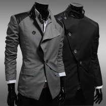 Fashion Long Sleeve Stand Collar Slim Fit Men's Blazer