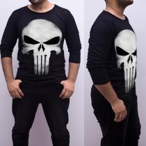 Fashion Long Sleeve Round Neck Skull Head Printed Men's T-shirt