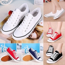 Fashion Flat Heel Round Toe Lace-up Couple Canvas Shoes